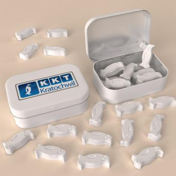 Promotional breath mints molded in penguin shape