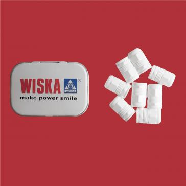 Custom shaped mints in printed tin with logo