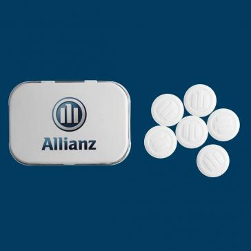 Peppermint tin printed with logo and filled with embossed mints